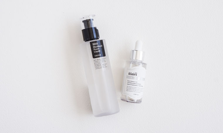 stop brown spots and hormonal acne breakouts with Klairs Vitamin C Juice Drop and COSRX BHA Power Liquid