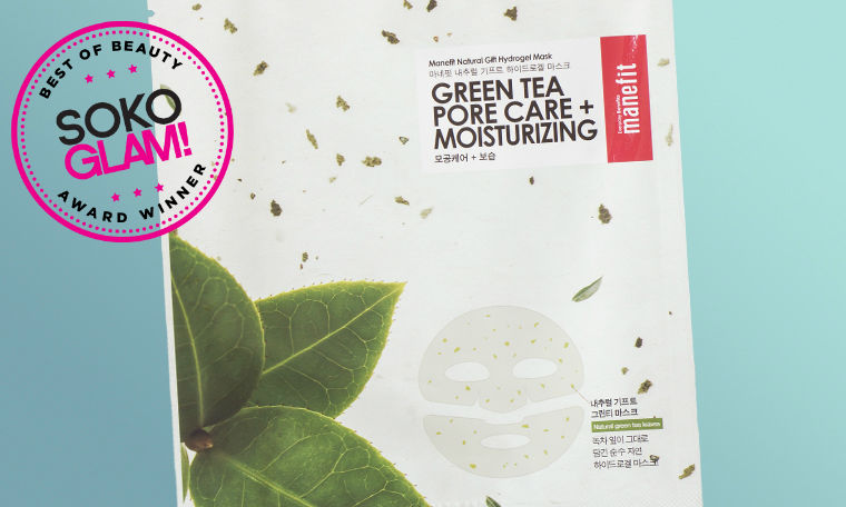 manefit green tea pore care mask won the 2016 best sheet mask award from Soko Glam