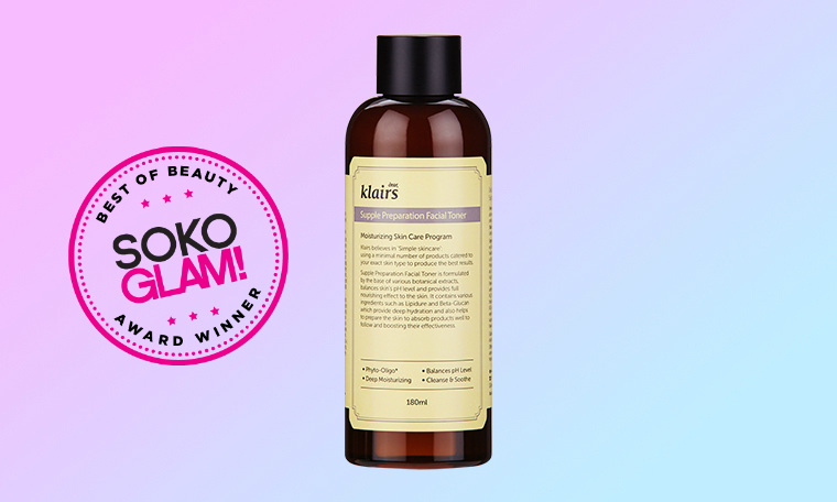 Klairs Supple Preparation Facial Toner won the 2016 best beauty toner award from Soko Glam